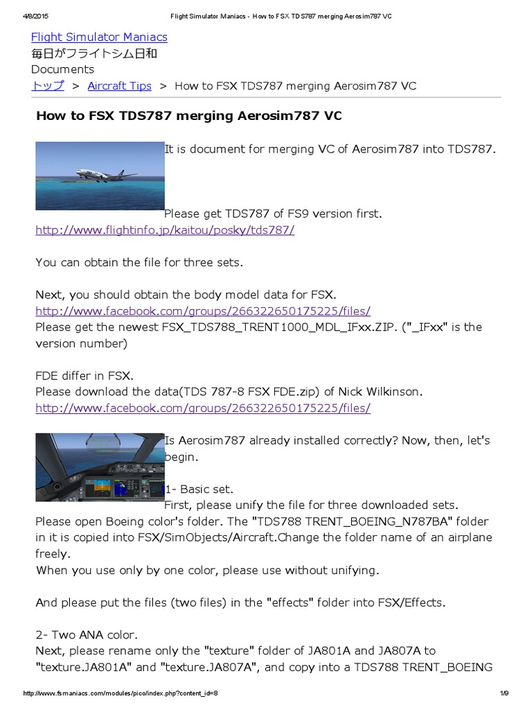 How to FSX TDS787 merging Aerosim787 VC