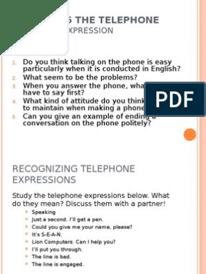 Telephone Expressions | Teléfono | Telefonía