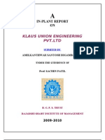 Project Report on Klaus Union Engineering