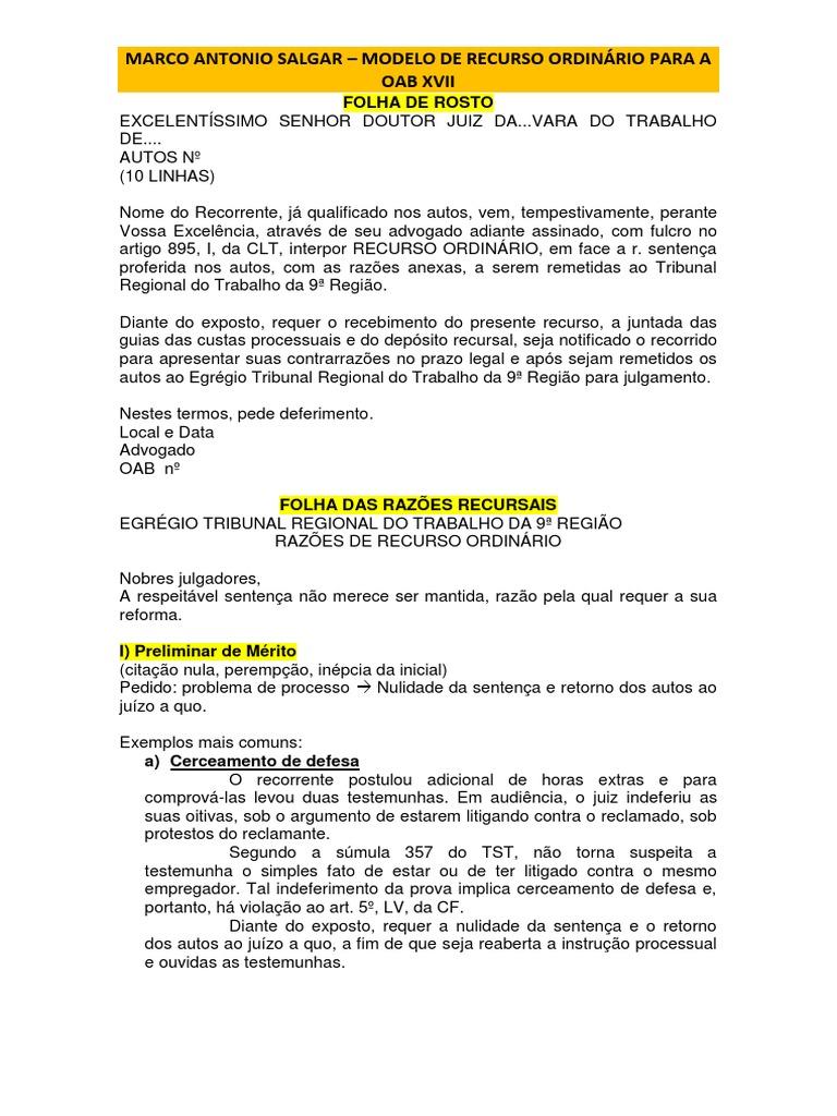 Modelos De Peças Para Revisao Autor Marco Antonio Salgar