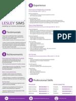 Lesley Sims - Resume + Portfolio