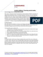 Journalists Resource Syllabus Covering Digital Media Technology and a Networked World