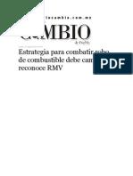 31-08-2015 Diario Matutino Cambio de Puebla - Estrategia Para Combatir Robo de Combustible Debe Cambiar, Reconoce RMV