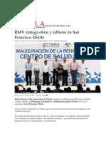 31-08-2015 El Universal - RMV Entrega Obras y Tabletas en San Francisco Mixtla