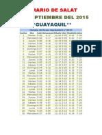 Horarios de Salats SEPTIEMBRE 2015 Ecuador