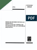 Redes de Distribución de Gas Domestico. Instalaciones de Tuberías de Polietileno de Alta Densidad. 2580-1989