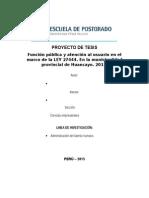 PROYECTO de TESIS UCV Función Pública y Atención Al Usuario en El Marco de La LEY 27444. en La Municipalidad Provincial de Huancayo. 2015
