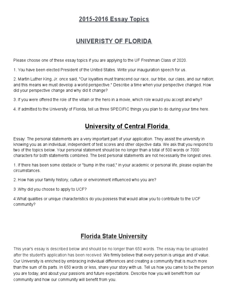 university of florida personal essay See what it takes to become a knight get information about deadlines, admission requirements, and more from the university of central florida apply now.