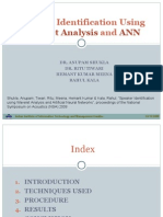Speaker Identification Using Wavelet Analysis and ANN