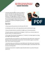 LUX METER - General Luxmeter Instructions