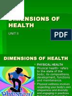 II) Dimensions of Health