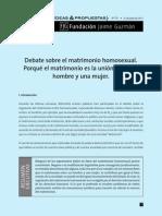 Debate sobre el matrimonio homosexual. Por qué el matrimonio es la unión entre un hombre y una mujer - Fundación Jaime Guzmán