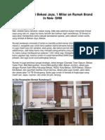 Rumah Dijual Di Bekasi Jaya, 1 Miliar an Rumah Brand in New- SHM