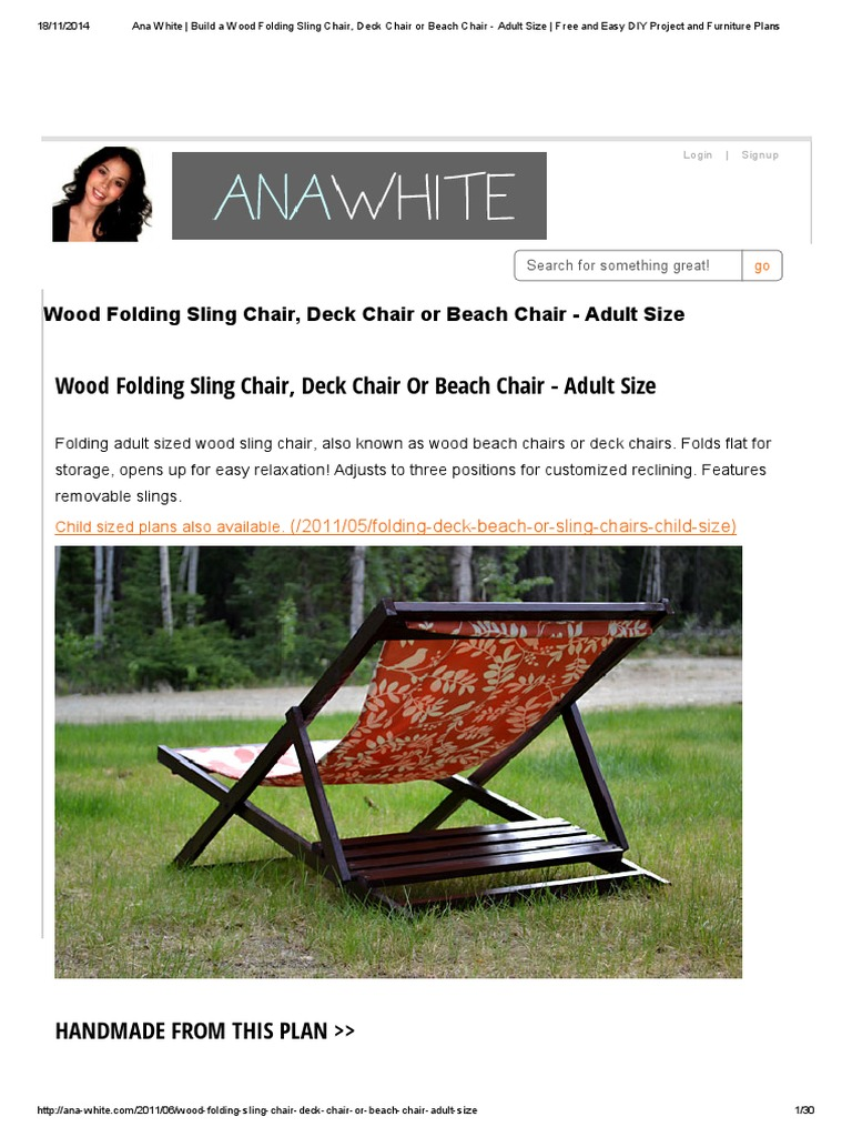Surprising Ana White Build A Wood Folding Sling Chair Deck Chair Or Gmtry Best Dining Table And Chair Ideas Images Gmtryco