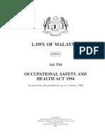 Akta 514 Akta Keselamatan Dan Kesihatan Pekerjaan 1994