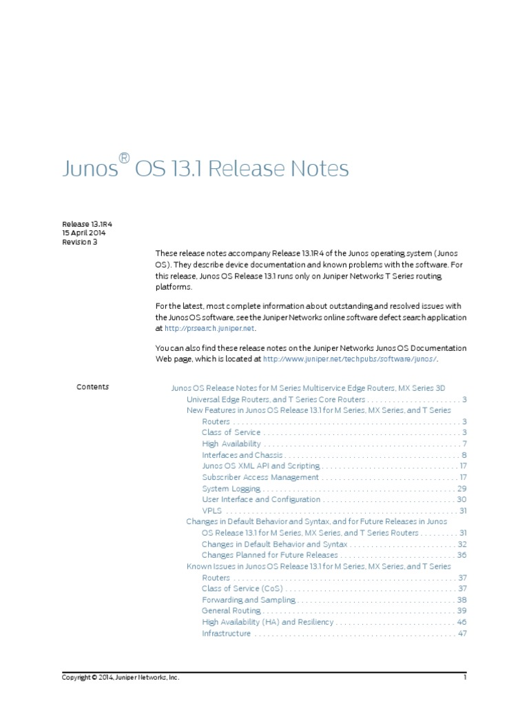 Junos Release Notes 13 1 | Multiprotocol Label Switching | Router