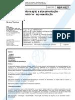 NBR 6027 - Informação e documentação - Sumário - Apresentação