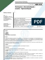 NBR 6028 - Informação e documentação - Resumo - Apresentação