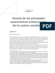 Reseña de las principales características institucionales de los países estudiados