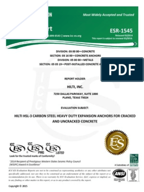 ICC ESR-1545 for HSL-3 Heavy Duty Expansion Anchors Approval