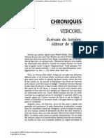 Scheler, Lucien, Vercors, écrivain de lumière, éditeur de minuit , Europe, 69:751/752 (1991:nov./dec.) p.166