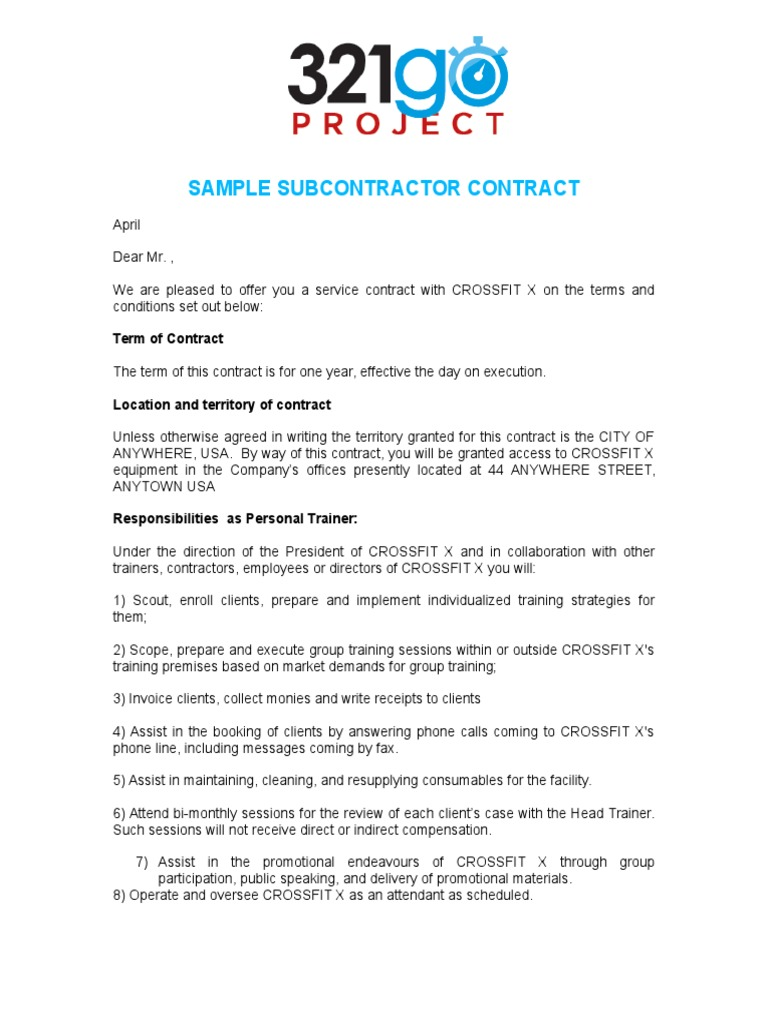 CrossFit X   Sample Coach Contract | Intellectual Property | Government  Information