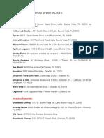 Lista de Endereços Para Gps Em Orlando