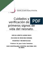 Cuidados y Verificación de Los Primeros Signos de Vida Del Neonato
