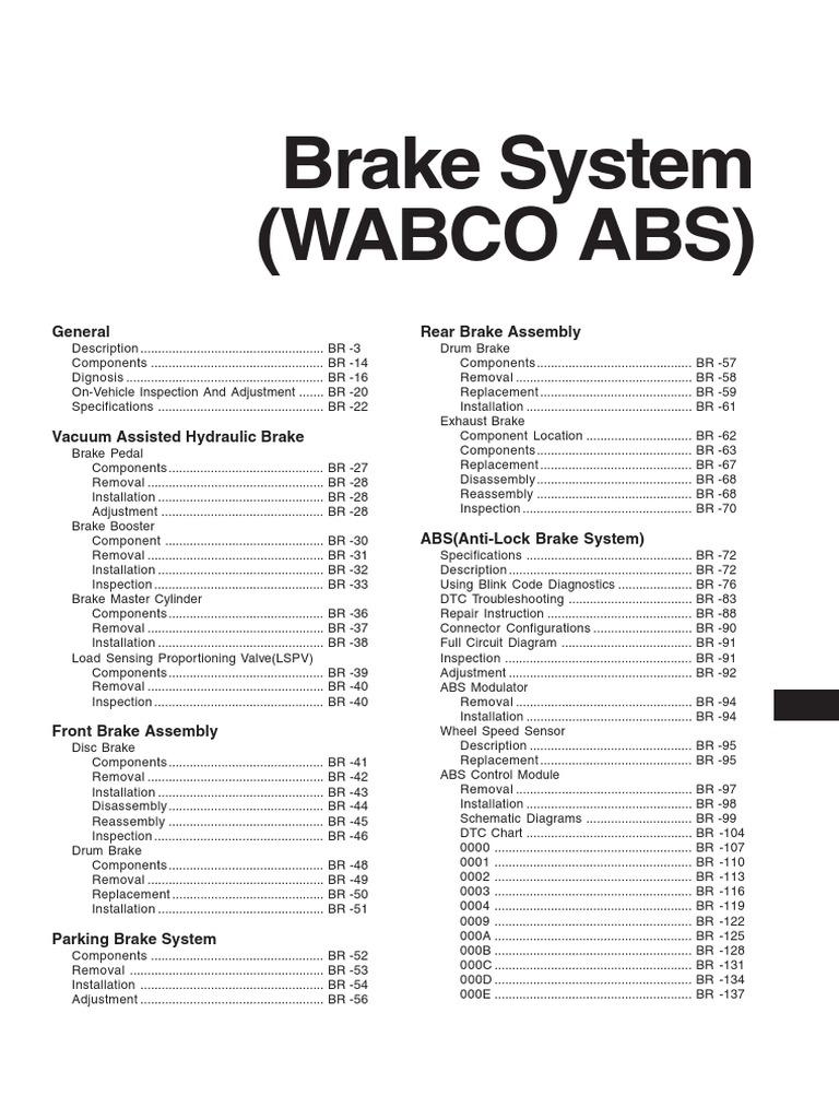 hyundai hd78 wabco abs brake vehicle technology rh scribd com ABS Blink Codes Lights Wabco ABS Valve