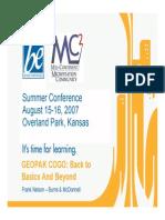 Nelson GEOPAK COGO Basics & Beyond 2007 Mcmc