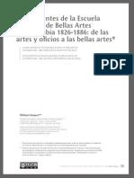 Antecedentes de La Escuela Nacional de Bellas Artes de Colombia