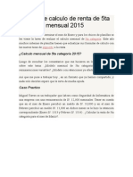 Modelo de Calculo de Renta de 5ta Categoría Mensual 2015