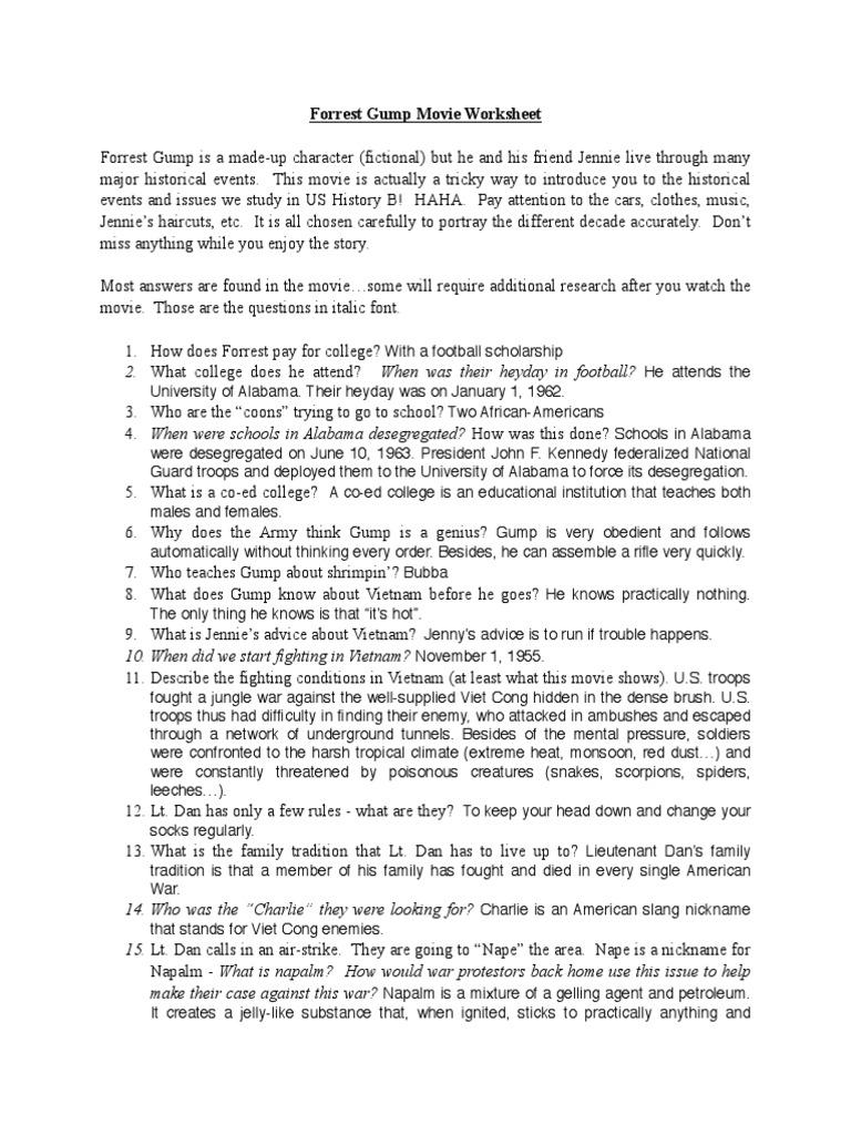 Free Worksheet Forrest Gump Worksheet paydayloansusaprh – Forrest Gump Worksheet