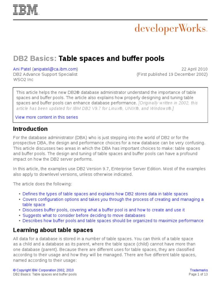 DB2 Tablespace | Ibm Db2 | Databases