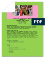 British Literature Course Syllabus Revised 3-3-10