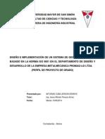 DISEÑO E IMPLEMENTACIÓN DE UN SISTEMA DE GESTIÓN DE CALIDAD BASADO EN LA NORMA ISO 9001 EN EL DEPARTAMENTO DE DISEÑO Y DESARROLLO DE LA EMPRESA METALMECÁNICA PROMAQ I+D LTDA
