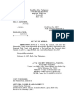 Sample of Notice of Appeal