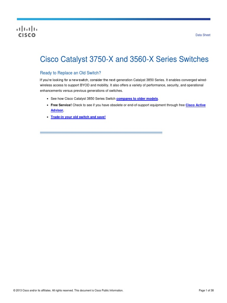 Cisco Catalyst 3750-X and 3560-X Series Switches pdf | Network