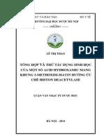 Tổng Hợp Và Thử Tác Dụng Sinh Học Của Một Số Acid Hydroxamic Mang Khung 3-Methoxim-Isatin Hướng Ức Chế Histon Deacetylase