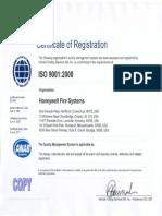 Fire Lite Honeywell ISO9001 Cert