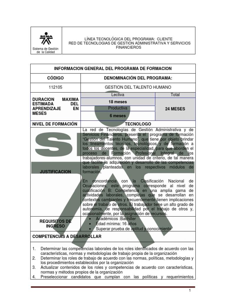 Estructura Curricular Tecnólogo en Gestion Del Talento Humano. SENA