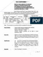 Notification Senior Quality Assurance Establishment Vehicles Lower Division Clerk Posts