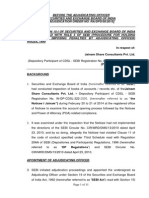 Adjudication Order in respect of Jainam Share Consultants Pvt. Ltd.
