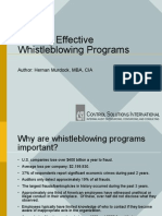Building Effective Whistle Blowing Programs