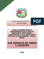 Plan de Trabajo Para El Mantenimiento de Latrocha Santa Isabel Llantorache