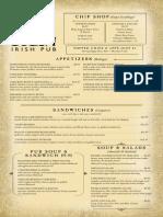 Tigin Irish Pub Stamford Main Menu