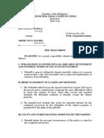 Sample Pre-trial Brief