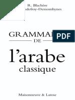 BLACHÈRE Grammaire Arabe