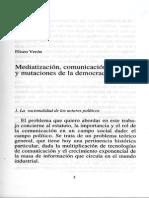 Mediatizacion, Comunicación Política y Mutaciones de La Democracia