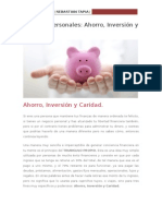 Finanzas Personales Ahorro, Inversión y Caridad.